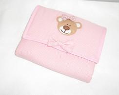 Trocador portatil ursinha rosa xadrez
