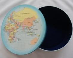 Caixa redonda Mapa Mundi Antigo