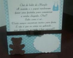 Convite ch� de beb� marrom e azul