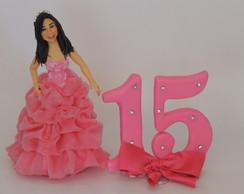 Topo de bolo debutante vestido rosa