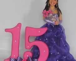 topo de bolo 15 anos vestido roxo