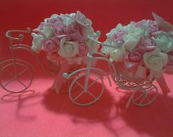 Mini Bicicleta com flores rosa e branca
