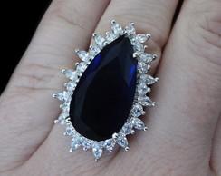 Anel de Zirc�nias Gota Azul