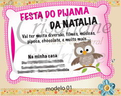 Convite festa do pijama Corujinha