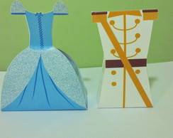 Caixa Vestido e Uniforme - Cinderela