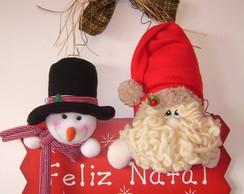 Papai Noel e Boneco de Neve na Placa