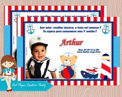 Arte Convite Ursinho marinheiro