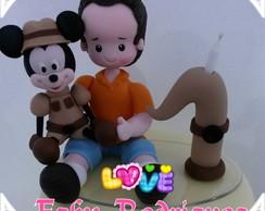 Topo com vela menino Mickey Safari