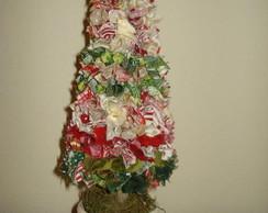 Pinheiro de natal com retalhos de tecido
