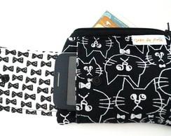 Porta celular e cart�o gato de gravata b