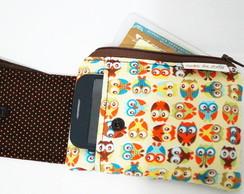 Porta celular e cart�o Coruja laranja