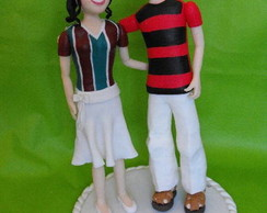 Topo de bolo casal futebol