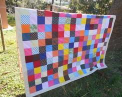 Colcha patchwork colorido