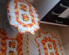 Jogo flores e bicos laranja 4 pe�as