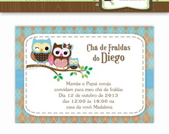 Convite Ch� de Beb� Corujinhas