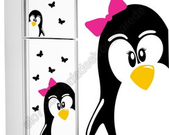 Adesivo geladeira Pinguim+filhote+borbol