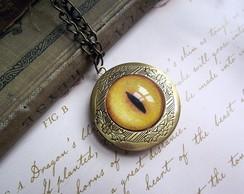 Colar Relic�rio Olho De Gato Amarelo
