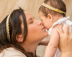 Headband m�e & filha branco c/ dourado
