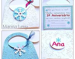 Convite Bolsinha Frozen - Textura