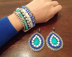 Maxi Pulseira e Brinco tons de azul
