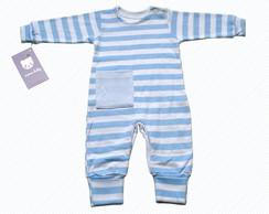 Body beb� Longuete Listras Azul