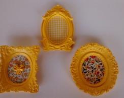 Trio mini espelhos amarelos