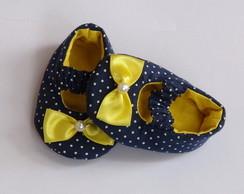 Sapatinho Azul com La�o Amarelo