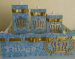 Cesta c/tr�s potes-Pr�ncipe Azul/Dourado