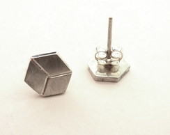 Brinco de prata cubinho