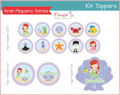 Kit Digital Toppers Ariel Pequena Sereia