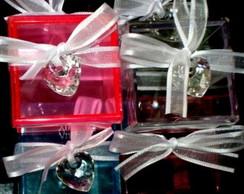 Caixa acr�lica decorada Cora��o P