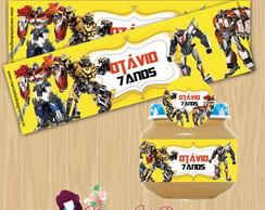 Etiqueta para potinho Transformers
