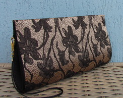 Clutch Brocado Preto/Caramelo