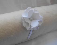 Tiara Flor Feltro Branca