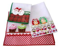 3 Panos de prato Natal, Coruja e Cupcake