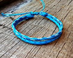 Pulseira Ny Blue Couro