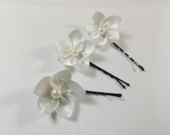 Mini Flor Off White com P�rola -Kit 8 un