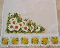 Pano De Prato Margaridas Pintura Croche