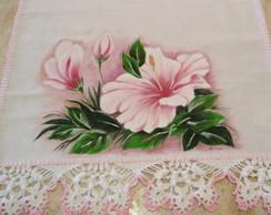 Pano De Prato Flores Pintura Croche