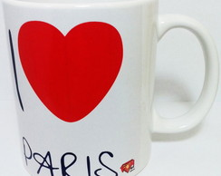 Caneca Porcelana I Love Paris