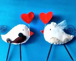 Topo de bolo Pombinhos apaixonados