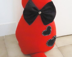 Peso de Porta- Cat Red & Black