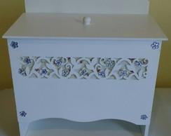Porta Fraldas - Floral Lil�s e Branco