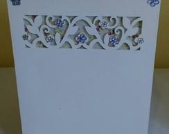 Lixeirinha-Cole��o Floral Lil�s e Branco