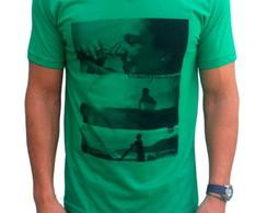 Camiseta gola V verde