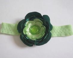 Faixa Flor Cetim Verde