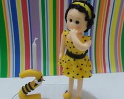 Topo de bolo menina abelhinha