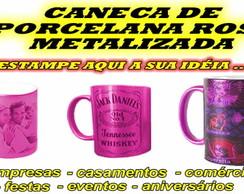 Caneca de Porcelana Metalizada Cor Rosa