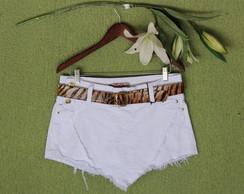Short Saia Jeans Customizado Branco