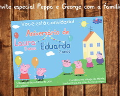 Convite Peppa Pig George Fam�lia Digital